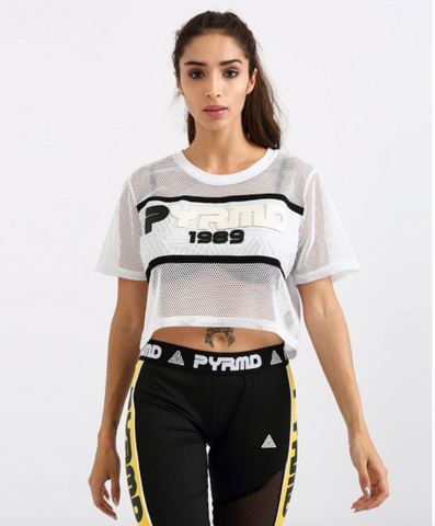 PYRMD 1989 Mesh Crop Top - White