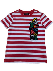 KIDS Chenille Collage Stripe Shirt - Red