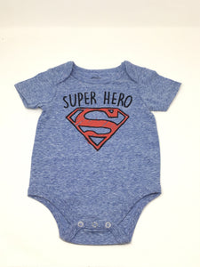 Superman - Super Hero - Heather Blue - Onesie