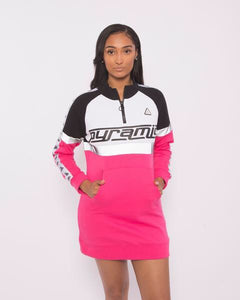 Women Logo Tape Track Dress  - Pink