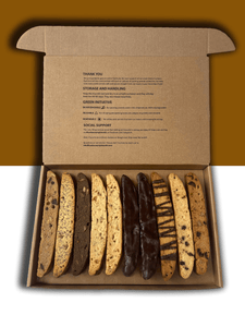 Inside of biscotti box with assorted flavors