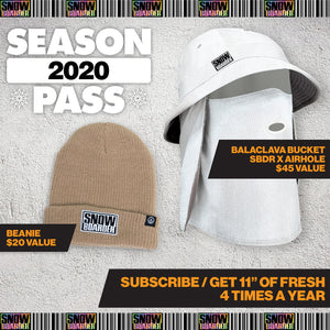 2020 SNOWBOARDER Season Pass Subscription Package (Print Mag, Sweatshirt, Balaclava, Beanie, Stickers, DVD)