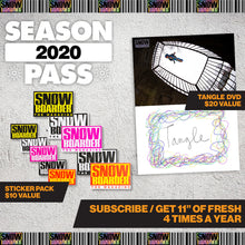 Load image into Gallery viewer, 2020 SNOWBOARDER Season Pass Subscription Package (Print Mag, Sweatshirt, Balaclava, Beanie, Stickers, DVD)