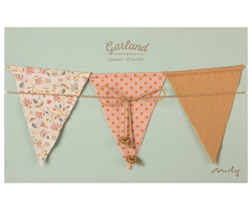 Maileg Garland 9 flags - dusty rose