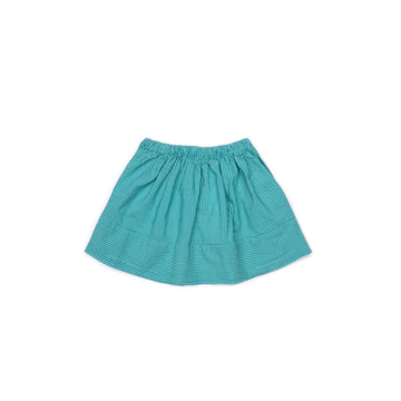 BARN OF MONKEYS FLARED MINI SKIRT STRIPED GUM GREEN