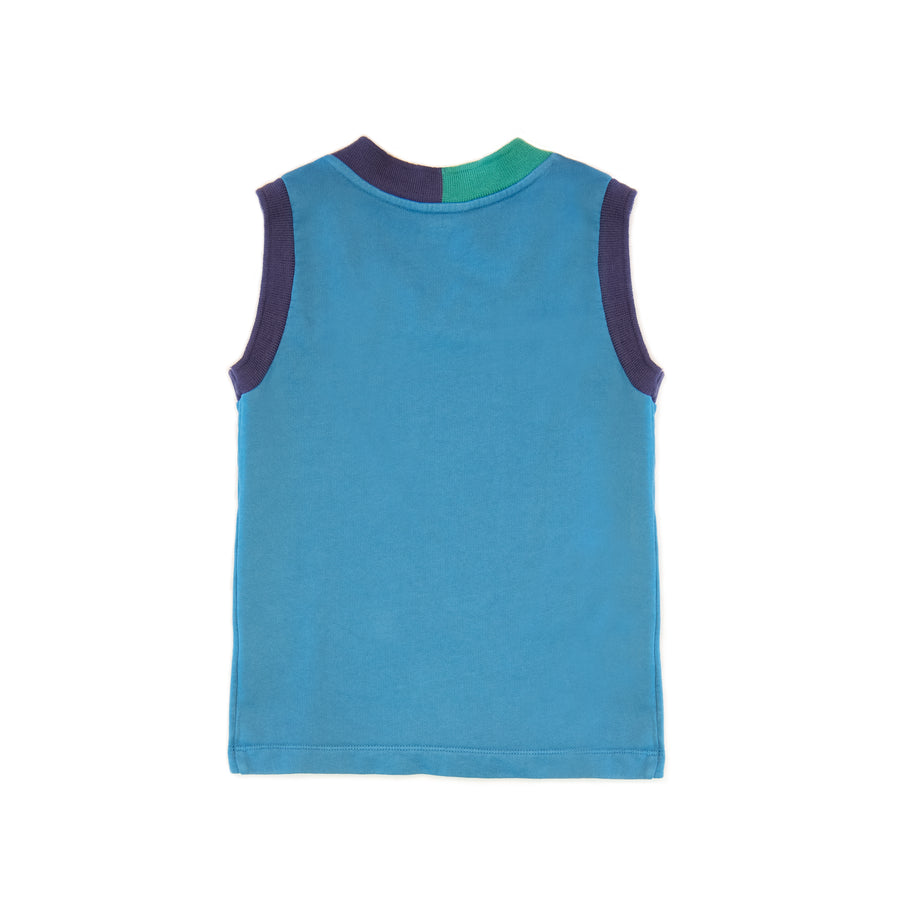 BARN OF MONKEYS TANK TOP WITH CONTRAST NECKLINE BLUE OIL NEUTRAL