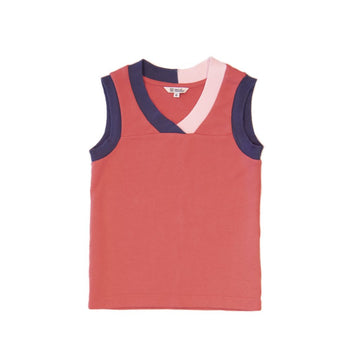 BARN OF MONKEYS TANK TOP WITH CONTRAST NECKLINE CORAL NEUTRAL