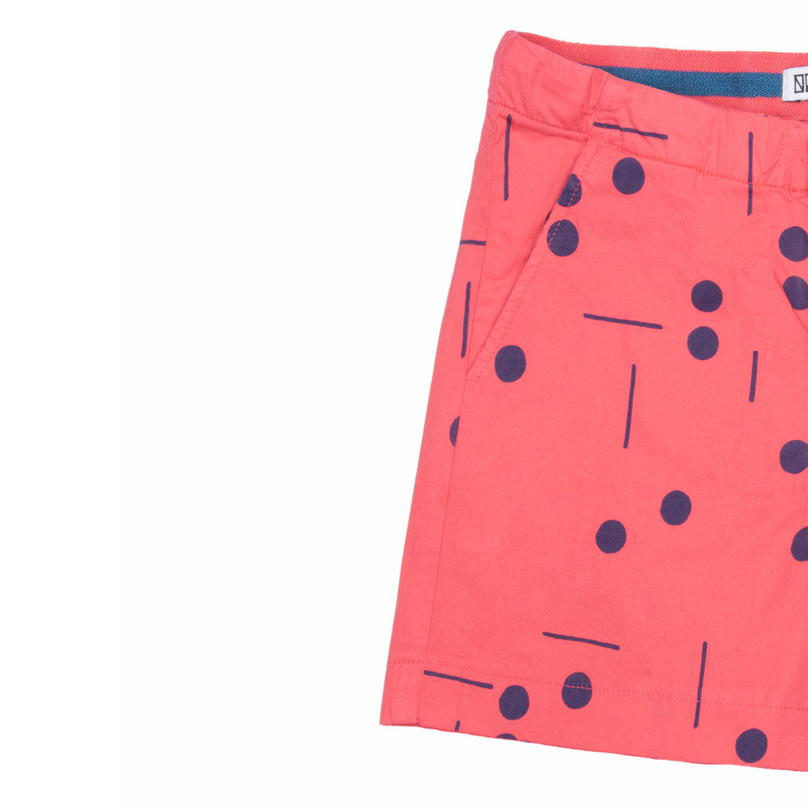 BARN OF MONKEYS DOMINO SHORTS CORAL