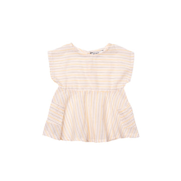 BARN OF MONKEYS DRESS WITH POCKETS STRIPED CANARY