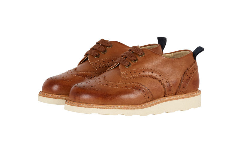 YOUNG SOLES Brando Burnished Leather Brogue Shoes with eva sole TAN