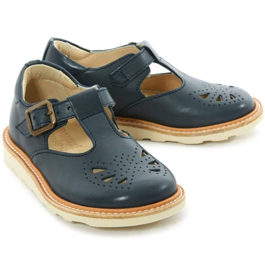YOUNG SOLES Rosie Leather T-Bar Shoes with eva sole NAVY
