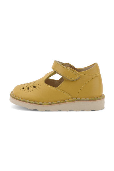 YOUNG SOLES Poppy Leather T-Bar Shoes with eva sole YELLOW