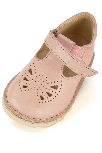 YOUNG SOLES Poppy Leather T-Bar Shoes with eva sole NUDE PINK