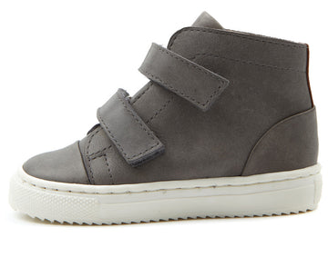YOUNG SOLES Howard Leather Velcro Sneaker Boots with cup sole GREY
