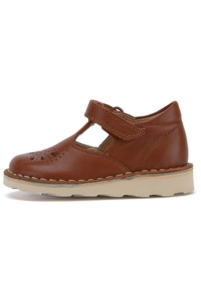 YOUNG SOLES Poppy Leather T-Bar Shoes with eva sole CHESTNUT BROWN