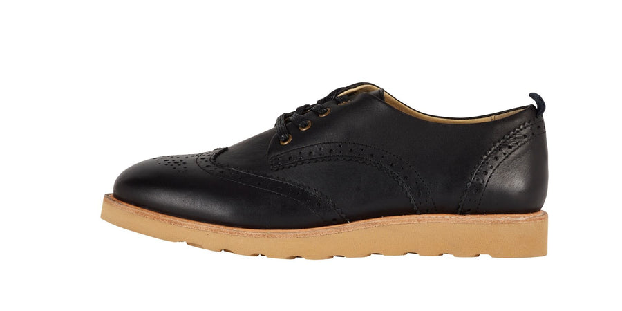 YOUNG SOLES Brando Leather Brogue Shoes with eva sole BLACK