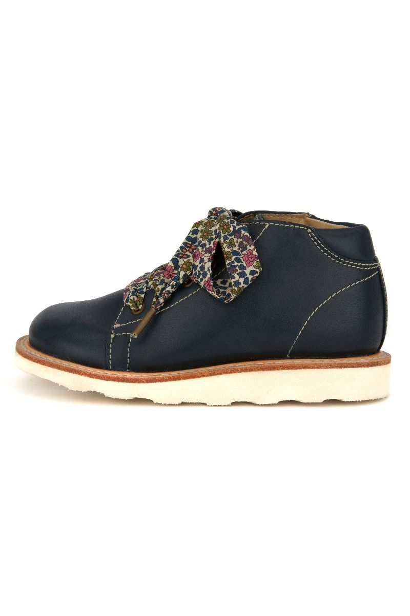 YOUNG SOLES Hattie Leather Monkey Boots (Liberty lace) with eva sole NAVY