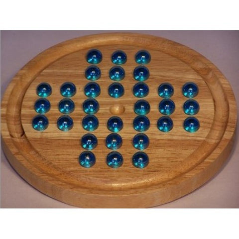 Solitaire Wood with Glass Marbles - Assorted Marble Design