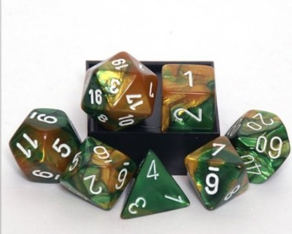 Chessex Gemini Polyhedral Dice Set Green-Gold/White - The Board Gamer