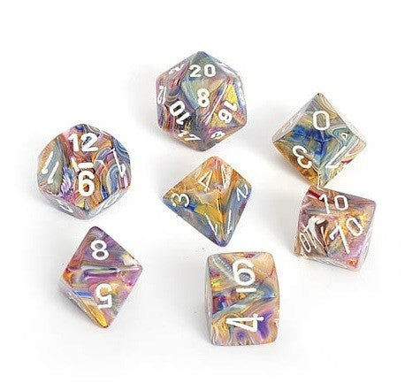 Chessex Signature Polyhedral Dice Set Festive Carousel/White