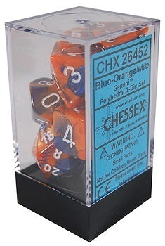 Chessex Gemini Polyhedral Dice Set Blue-Orange/White