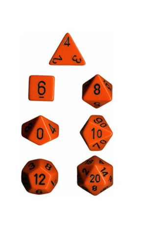 Chessex Opaque Polyhedral Dice Set - Orange/Black - The Board Gamer