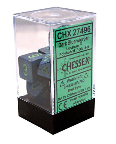 Chessex Signature Polyhedral Dice Set Dark Blue/Green Lustrous
