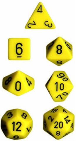 Chessex Opaque Polyhedral Dice Set - Yellow/Black - The Board Gamer