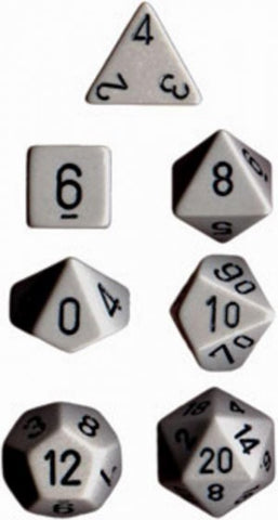 Chessex Opaque Polyhedral Dice Set - Dark Grey/Black - The Board Gamer