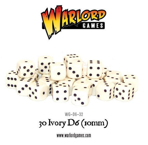 30 Ivory D6 (10mm) - The Board Gamer