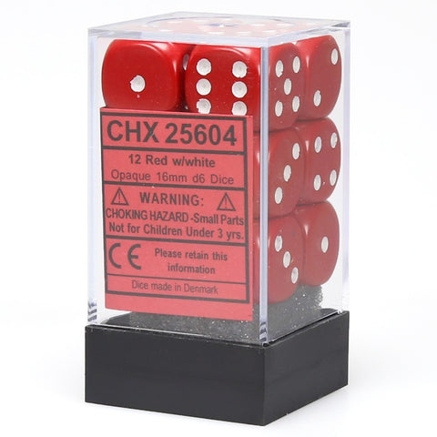Chessex: D6 Opaque Cube Set (16mm) - Red/White