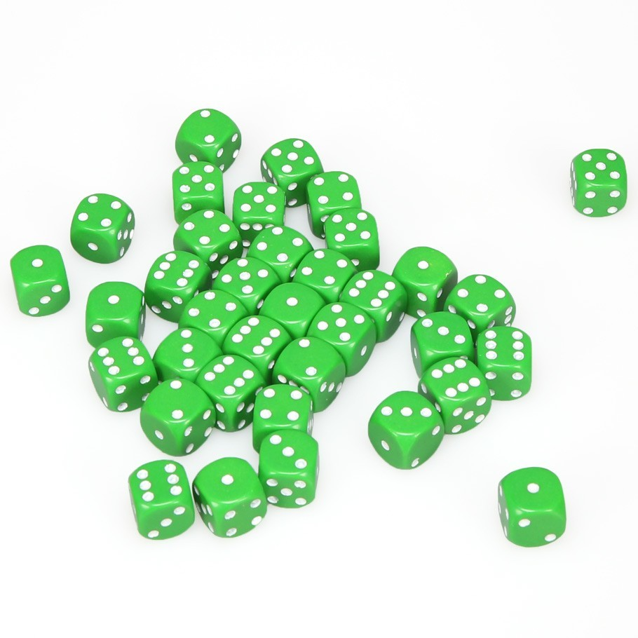 Chessex: D6 Opaque Cube Set (12mm) - Green/White