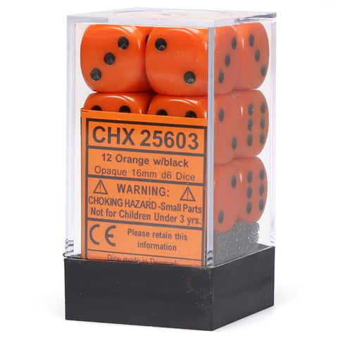 Chessex: D6 Opaque Cube Set (16mm) - Orange/Black