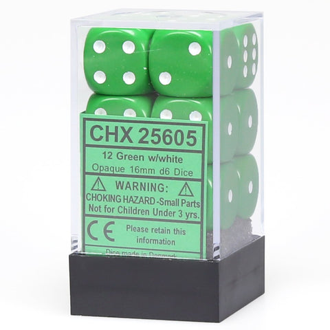 Chessex: D6 Opaque Cube Set (16mm) - Green/White