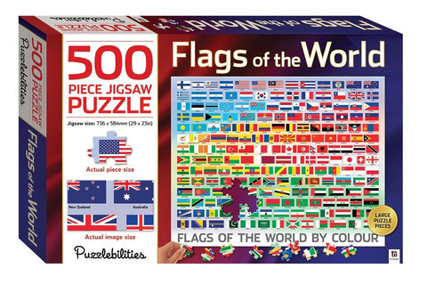 Puzzlebilities: 500 Piece Puzzle - Flags of the World - The Board Gamer