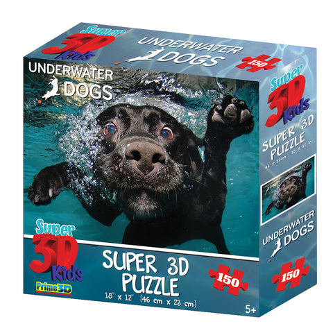 Super 3D: 150-Piece Jigsaw Puzzle - Underwater Dogs Duchess - The Board Gamer