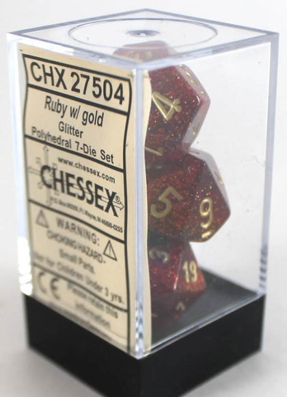 Chessex: Polyhedral Glitter Dice Set - Ruby/Gold