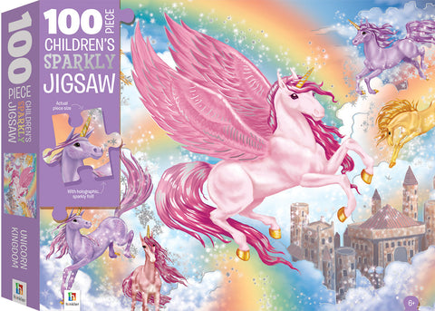 Hinkler: 100-Piece Sparkling Jigsaw Puzzle - Unicorns - The Board Gamer