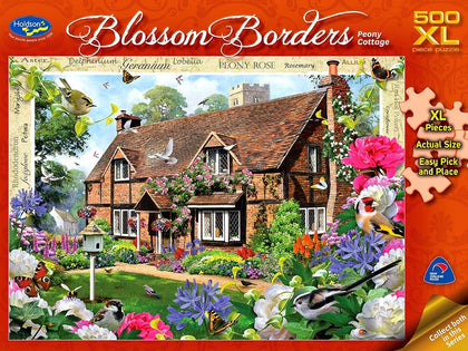Holdson XL: 500 Piece Puzzle - Blossom Borders (Peony Cottage)