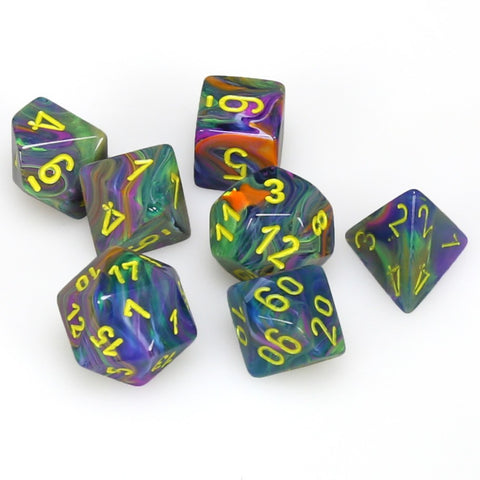 Chessex: Polyhedral 7-Die Set - Festive Rio with Yellow
