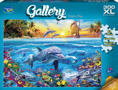 Holdson XL: 300 Piece Puzzle - Gallery (Dolphin Ship) - The Board Gamer