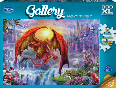 Holdson XL: 300 Piece Puzzle - Gallery (Kingdom with Dragons) - The Board Gamer