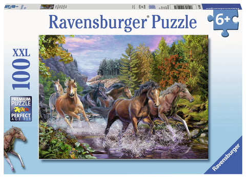 Ravensburger: 100 Piece Puzzle - Rushing River Horses