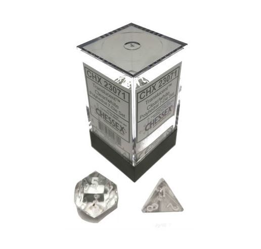 Chessex Translucent Polyhedral Dice Set - Clear/White