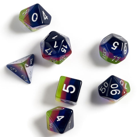 Sirius Dice Pink Green Blue White Polyhedral Dice Set