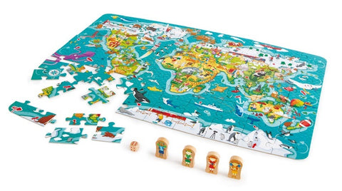 Hape: 2-in-1 Puzzle & Game - World Map - The Board Gamer