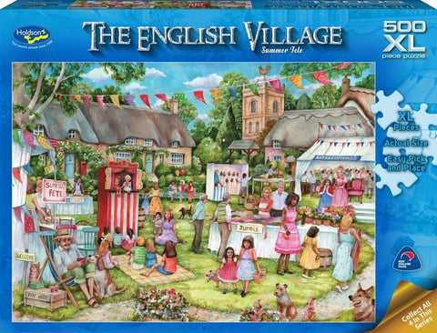 Holdson XL: 500 Piece Puzzle - The English Village S2 (Summer Fete) - The Board Gamer
