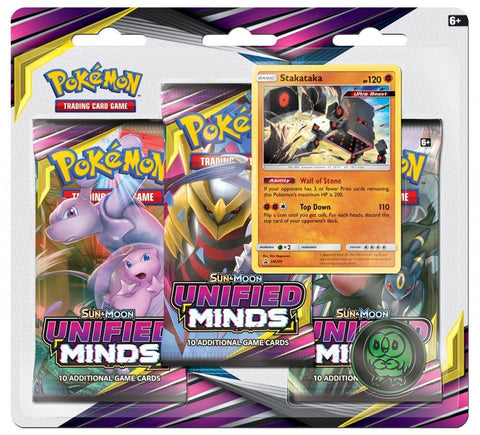Pokemon TCG: Unified Minds Three Booster Blister - Stakataka - The Board Gamer