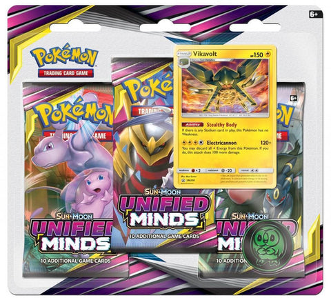 Pokemon TCG: Unified Minds Three Booster Blister - Vikavolt - The Board Gamer
