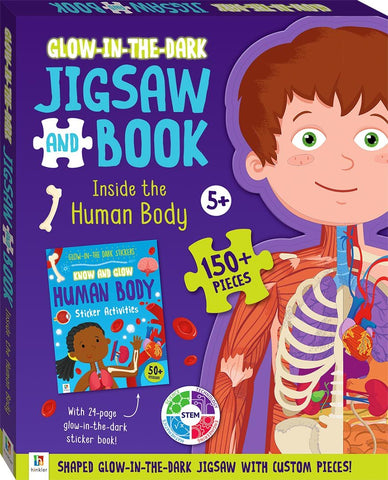 Hinkler: Glow-In-The-Dark Jigsaw Book - Inside The Human Body